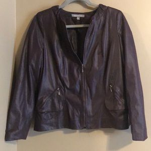 NY Collection Purple Faux Animal Skin Jacket